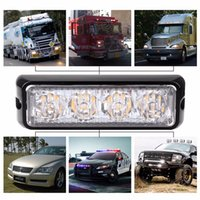 Wholesale Truck Yellow Lights - 4 LED Car Truck Emergency Beacon Light Bar Hazard Strobe Warning Yellow Amber Car External Lights Warning Lights