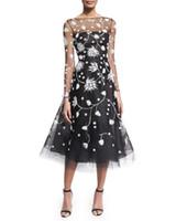 zuhair murad vestido de noche negro al por mayor-2017 el más nuevo negro Sheer Tulle encaje apliques de manga larga equipo Sexy vestidos de baile vestidos de noche largos espalda abierta nuevo estilo Zuhair Murad