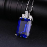 joyería de corte esmeralda al por mayor-JewelryPalace Luxury Emerald Cut 9.4ct Creado Azul Zafiro Colgante genuino 925 Joyería de Plata Esterlina para Las Mujeres Joyería Fina