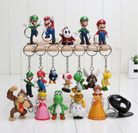 Wholesale Super Mario Pvc - Super Mario keychain Bros Luigi Action Figures 18pcs set new arrival youshi mario Gift OPP