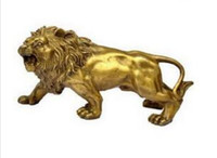 Wholesale scroll cut for sale - Group buy Brass Crafted Human Antique decoration Collectable home decorations FENG SHUI brass lion sculpture statue