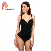 Опт-Andzhelika One Piece Swimsuit 2017 Women Swimwear Solid Beach Plus Размер Bodysuits Vintage Retro Fold Купальные костюмы Monokini