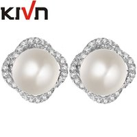 Wholesale Cz Pearl - KIVN Fashion Jewelry Flower Pearl Pave CZ Cubic Zirconia Wedding Bridal Stud Simulated Pearl Earrings for Women