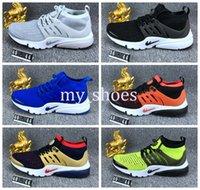 Wholesale Cheap Gold Shoes For Kids - 2016 Air Presto BR QS Breathe Classical Triple Black White Running Shoes for Men Women Boy Kids Cheap Original Airs Sport Shoe