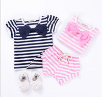 Wholesale Girls Tees Bows - 2017 Infant Baby Girls Striped Bow T-shirts Toddler Fashion Casual Jumper tops Babies Summer Tees Childrens clothing