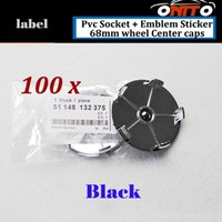 Wholesale Decals For Wheels Center Caps - 100pcs Car Wheel Hub Emblem Cover Auto Wheel Center Logo Cap PVC Badge best price Decal for full black 68mm Label Epoxy Resin