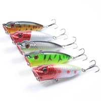 Wholesale Baits 12g - 5-color 6.5cm 12g Popper Hard Plastic Lures Fishing Hooks Fishhooks 3D Eyes Fishing Lure 6# Hook Artificial Bait Pesca Tackle Accessories