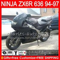1996 kawasaki ninja zx6r großhandel-8Geschenke 23Farben für KAWASAKI NINJA ZX636 ZX6R 94 95 96 97 ZX-6R ZX-636 glänzend schwarz 33NO20 600CC ZX 636 ZX 6R 1994 1995 1996 1997 Verkleidungskit