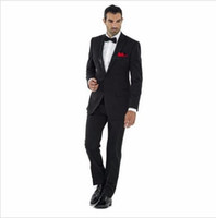 2017 Black Celebrity Groom Tuxedos Trajes de casamento para homens Man Business Ceremony Wear For Work (Jacket + Pants + Bow Tie) Cheap.