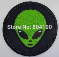"""Wholesale Wholesale Christmas Iron Appliques - 3"""" Alien aliens 51 PATCH Movie TV Series Costume Cosplay Halloween Embroidered Emblem applique iron on patch white christmas"""