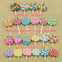 Free Ship 50pcs 36 * 26mm DIY Polymer Clay Lollilop Food Charm Cell Phone Straps Moda Bag Pingente Pendente Pingentes Chirstmas Gift