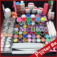 gel glitter 12 uv venda por atacado-Atacado-COSCELIA UV Gel Acrílico Kit em pó + 12 cores Pure UV Gel Glitter Líquido Gel UV TopCoat Cleanser Primer Nail Art Tools Set