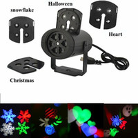 Wholesale Snowflake Xmas Decorations - Xmas Wall decoration laser lights 4 pattens card lamp led projector lights snowflake love candy skull for Halloween