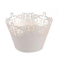 Wholesale Lace Cupcake Cases - Wholesale-50pcs Filigree Vine Cross Lace Out Paper Cake Cupcake Wrappers Muffin Cases Baking Cup Case Trays Wedding Party Decor (White)