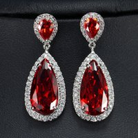 Wholesale Topaz Costume Jewelry - New Arrival 7 Colors pendientes White Gold Plated Crystal Earring Big Luxury Wedding Diamond Stud Earrings For Women Fashion Costume Jewelry