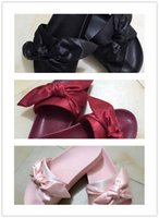 Wholesale White Heels Pink Bow - 2017New Hot Rihanna Leadcat X Fenty Bandana Slide Bow Slippers,Ladies Fashion Slippers Black Burgundy Red Purple Pink 36-41 With Box