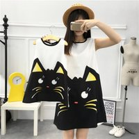 Wholesale Cat Dress Womens - Mother and daughter clothes girls round collar cartoon cat princess dress womens printed vest dress 2017 summer new Family dress T1910