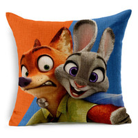 Linen outdoor bolster pillows - Linen material cushion cover waist bolster case square pillow case movie zootopia cartoon character Judy Nick poster decorative home outdoor