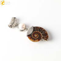 Pendant Necklaces carved amethyst beads - CSJA Pearl Charms Natural Ammonite Shell Fossils Reliquiae Animal Single Gemstone Bead Conch Carved Jewelry Buckle Necklace Pendants E256 A