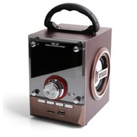 Wholesale wireless dj speakers - Speaker LED Wood Luxury Mobile Multimedia Wireless Bluetooth Portable Speakers USB TF AUX FM Outdoor DJ Super Bass