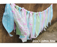 Wholesale wholesale fabric bunting - Wholesale- Free shipping fabric garland rag tie banner fabric bunting 2pcs lot 1.8m pcs Baby Girl Shower Wedding deco Party Decor