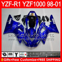 Wholesale 98 r1 blue fairings - 8Gift 23Color Body For YAMAHA YZF1000 YZFR1 98 99 00 01 YZF-R1000 blue black 61HM8 YZF 1000 R 1 YZF-R1 YZF R1 1998 1999 2000 2001 Fairing