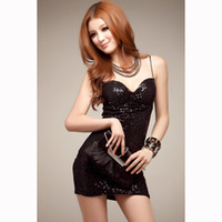 Wholesale Tight Black Miniskirt - Hot Sexy lingerie deep V sling backless perspective tempation miniskirt Tight buttocks bar Nightclub uniforms nightdress