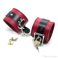 Wholesale Real Leather Bondage - Black and Red Genuine Real Leather with Locks Ankle Cuffs Sex Bondage Restraint Toys sex toys