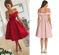 Wholesale Cheap Red Ribbon - Simple Red Satin Short Prom Dresses With Ruffles Off Shoulder Knee Length Short Party Dresses Custom Made Cheap Short Evening Dresses