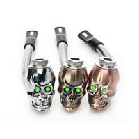 DHL FREE Skull Skeleton Head Metal Smoking Pipe 3 couleurs LED Luminous Scalable Property Tobacco Cigarette Rasta Reggae Pipe