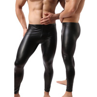 Wholesale Long Faux Leather Pants - Wholesale-Fashion Mens Black Faux Leather Pants Long Trousers Sexy And Novelty Skinny Muscle Tights Mens Leggings Slim Fit Tight Men Pant