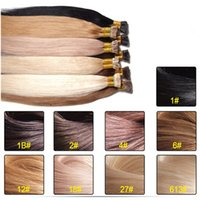 Wholesale Stick Virgin Hair - 50g Keratin Stick I tip Human Hair Extensions 9 Colors Human Remy Hair Straight Brazilian Human Virgin Hair Extension