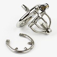 Wholesale bondage cages - New Super Small Male Bondage Chastity Device With Urethral Catheter Spike Ring BDSM Sex Toys Stainless Steel Chastity Belt Short Cage CP282