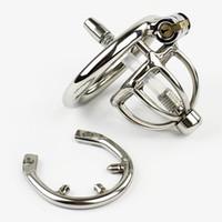 ingrosso la castità dell'anello di punta-Nuovo Super piccolo dispositivo di castità Bondage maschile con catetere uretrale Anello a punta BDSM Giocattoli del sesso Cintura di castità in acciaio inossidabile Gabbia corta CP282