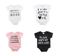 Wholesale White Baby Bodysuits Wholesale - 2017 Ins Baby clothing Romper Onesies Bodysuits short sleeve Letters Mamas daddys Infants clothing White briefs 8 styles mix 0-2years