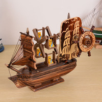 Wholesale Wood Living Room Cabinets - 20x19cm Creative European - style household goods living room decorations ornaments pirate ship model TV cabinet wooden crafts