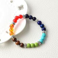 Wholesale traditional tiger - Natural agate stone Amethyst jewelry selling tiger stone beads bracelet seven chakra Yoga energy stone bracelet