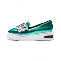 Crystal Loafers Square Toe Plataforma Shoes Mulher 2017 Rhinestone Creepers Slip On Flats Novos Casual Women Shoes Verde Cinzento Plus Size