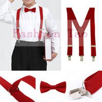 Wholesale- 2 PCS Enfants Kids Bowtie Boys Suspenders Butterfly Ensembles d'accolades de haute qualité 14 couleurs Wedding Party Kids Bow Tie Wtr0003