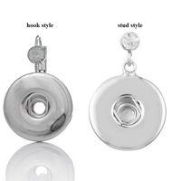 Wholesale Dangling Clear Rhinestone Earrings - Fashion french hook earring,clear rhinestone noosa chunks metal ginger 18mm snap button earrings stud for women jewelry