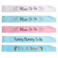 Wholesale baby showers decorations - 4 Colors Baby Shower Party Satin Ribbon Banner Mum To Be Grandma Auntie Nanny Sashes Events Party Garment Decoration Gadgets
