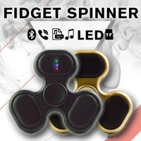 Wholesale Micro Sd Plastic Box - 4 In 1 LED Bluetooth MP3 Audio Player Fidget Spinner Support Micro SD TF Card Music Speaker fidget spinner For ADD ADHD With Retail Box