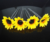 Wholesale Hair Accessory Sunflower Clip - 12Pcs Wedding Bridal Prom Beautiful Sunflower Hair Pins Hair Accessory