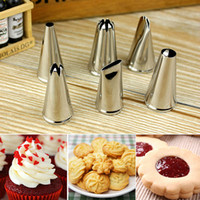 Wholesale Cake Mouth Nozzle - Wholesale- 6PCS Stainless Steel Cream Nozzle Mouth Jam Cream Tip Cake Decorating Mouth Fancy Pastry Piping Flower Mouth Baking Tool A882