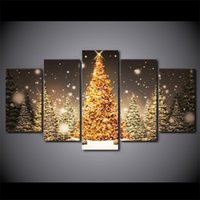 Wholesale Tree Life Artwork Paintings - 5 Pcs Set HD Printed Framed Golden Christmas Trees Artworks Home Decor Poster Wall Picture Painting Canvas Art