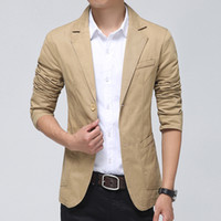 Wholesale Mens Suits Free Shiping - Wholesale- 2015 Spring Sliced Color Men's Blazer Cotton Casual Suit Jacket Men Fit Long Sleeve Blazer Homme Masculino Mens free shiping