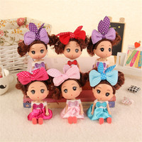 Wholesale Mini Kid Girl Dresses - 12cm Kawaii Wedding Mini Ddung Dolls with Brown Hair Princess Dress Kids Girls Confused Doll Accessories Toys Gifts