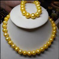 "Wholesale Huge Golden South Sea Pearls - HOT AAA HUGE 11-12MM SOUTH SEA GENUINE GOLDEN PEARL NECKLACE 18"" + BRACELET 7.5c"