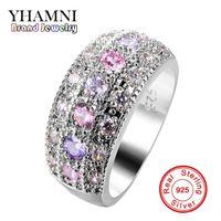 Wholesale Channel Purple - YHAMNI Luxury Pink & Purple CZ Diamond Solitaire Ring Original 925 Sterling Silver Jewelry Wedding Gift of Women KZLR01