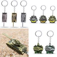 Wholesale Mans Pendent - Game World of Tanks KeyChain pendent Retro keyring gift key chain ring Fashion Men 's Alloy Pendant